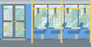 Background of modern empty city bus. Background of modern empty city bus vector flat design illustration. Horizontal layout Stock Photography
