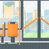 Background of modern empty city bus. Background of modern empty city bus vector flat design illustration. Square layout Royalty Free Stock Photography