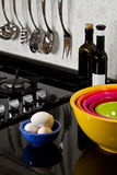 Background of modern kitchen and eggs. And bowls Royalty Free Stock Photo