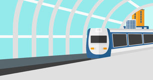 Background of modern train arriving at the station. royalty free illustration