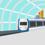 Background of modern train arriving at the station. Royalty Free Stock Image