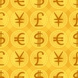 Background, money. Abstract seamless background with currency signs: dollar, euro, pound, yen. Vector eps10, contains transparencies Stock Image