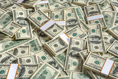 Background with money american hundred dollar bills. Studio photography of American moneys of hundred dollar Royalty Free Stock Image