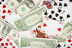 Background of money and cards about gambling Royalty Free Stock Image
