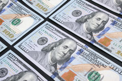 Background of money (close up of dollar bill) Stock Photos