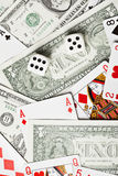 Background of money dice and cards. Background of the money, dice and playing cards Royalty Free Stock Photos