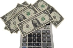 Background of money dollas and calculator stock photography