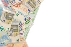 Background of money from euro banknotes. Place for copy space royalty free stock image