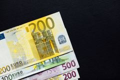 Background of the money. Euro and Dollar. Different Euro banknotes from 5 to 500 Euro Royalty Free Stock Image