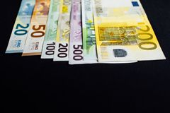 Background of the money. Euro and Dollar. Different Euro banknotes from 5 to 500 Euro Royalty Free Stock Photo