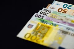 Background of the money. Euro and Dollar. Different Euro banknotes from 5 to 500 Euro Stock Image