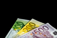 Background of the money. Euro and Dollar. Different Euro banknotes from 5 to 500 Euro Stock Photo