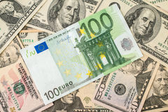 Background of the money. Euro and Dollar. Financial concept Stock Images