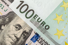 Background of the money. Euro and Dollar. Financial concept Stock Photos