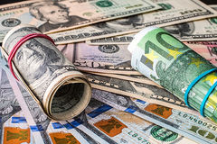 Background of the money. Euro and Dollar. Financial concept Royalty Free Stock Photos