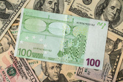 Background of the money. Euro and Dollar. Financial concept Royalty Free Stock Images