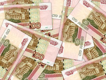 Background of money pile 100 russian rouble bills Stock Photo