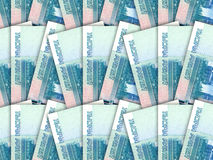 Background of money pile 1000 russian rouble bills Stock Image