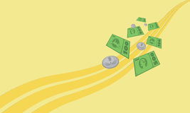 Background with money. Yellow background with falling fictive money Royalty Free Stock Photos