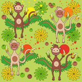 Background - a monkey with bananas. Green background with monkey with bananas Royalty Free Stock Images