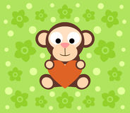 Background with monkey cartoon Royalty Free Stock Photography