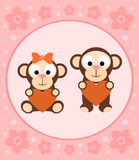 Background with monkeys cartoon Stock Photography