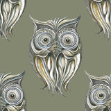 Background with monochromatic owls.Seamless. Stock Images
