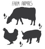 Background with monochromatic pattern farm animals cow and pig poultry chicken Stock Photo