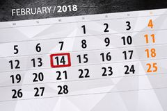 Background Daily Month Business Calendar Scheduler 2018 February, 14 stock photo