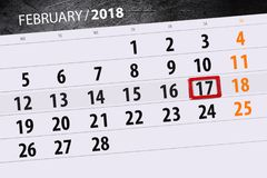 Background Daily Month  Business Calendar Scheduler 2018 February 17 Royalty Free Stock Photography