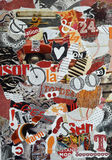 Background Mood board collage made of teared magazines in red,orange and black colors Stock Images