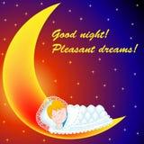 Background on the moon baby sweetly asleep G Stock Photos