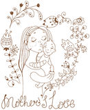 Background with mother and baby and flowers Stock Photo