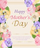 Background Mothers day with beautiful flowers greeting card. Design for posters, banners or cards. Vector Royalty Free Stock Images