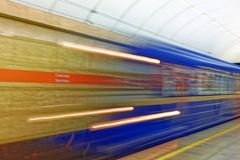 Background of motion blur of speed train in the subway. Underground vehicle dynamic motion. Stock Images