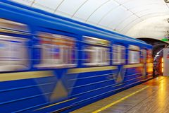 Background of motion blur of speed train in the subway. Underground vehicle dynamic motion. Royalty Free Stock Photography