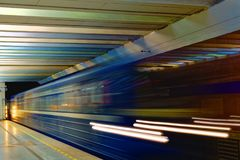Background of motion blur of speed train in the subway. Underground vehicle dynamic motion. Royalty Free Stock Image
