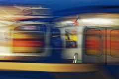 Background of motion blur of speed train in the subway. Underground vehicle dynamic motion. Stock Photography