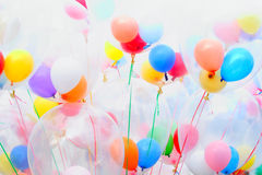 Background of motley balloons. Close-up. Outdoor photography Royalty Free Stock Image