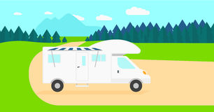 Background of motorhome in the forest. Stock Images