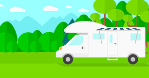Background of motorhome in the forest. Stock Photos