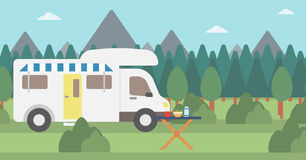 Background of motorhome in the forest. Royalty Free Stock Photography