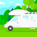 Background of motorhome in the forest. Stock Photo