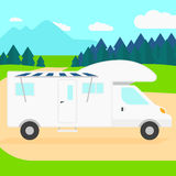 Background of motorhome in the forest. Royalty Free Stock Image