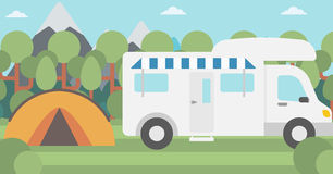 Background of motorhome and tent in the forest. Stock Photos