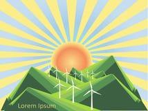 Background with mountain landscape below on blue, wind power plant, Lorem ipsum. Green hills, valley, blue sky. Yellow sun, rise. Modern flat design, design Royalty Free Stock Photo