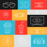 Background of movie elements and cinema icons Stock Image
