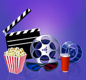 Background while a movie with popcorn, glasses, fil. Illustration background while a movie with popcorn, glasses, films and a drink Stock Photos
