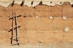 Background wall of an adobe in the Sahara desert, Morocco, Afric Royalty Free Stock Photo