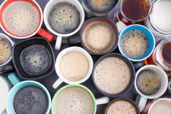 Background of mugs full of fresh hot coffee Stock Photos